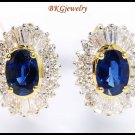 Blue Sapphire Jewelry 18K Yellow Gold Diamond Earrings [E0043]