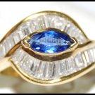 18K Yellow Gold Gemstone Genuine Diamond Blue Sapphire Ring [RB0022]