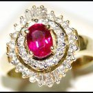 Jewelry Solitaire 18K Yellow Gold Ruby Diamond Ring [RS0158]