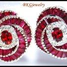 Gemstone Eternity Ruby Diamond Earrings 18K White Gold [E0036]