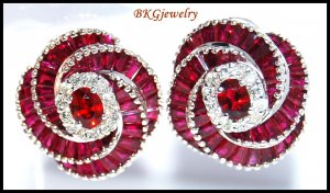 Gemstone Eternity Ruby Diamond Earrings 18K White Gold [E0036]