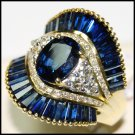 Diamond 18K Yellow Gold Wedding Cocktail Blue Sapphire Ring [RB0006]