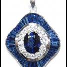 Diamond Blue Sapphire Pendant Jewelry 18K White Gold [P0138]