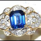 18K Yellow Gold Diamond and Emerald Cut Blue Sapphire Ring [RF0015]