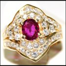 Wedding Diamond and Natural Ruby Ring 18K Yellow Gold [RB0021]