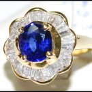 Diamond 18K Yellow Gold Unique Gemstone Blue Sapphire Ring [RB0013]