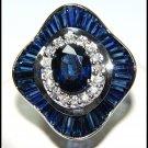 18K White Gold Natural Cocktail Diamond Blue Sapphire Ring [R0135]