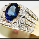 Diamond 18K Yellow Gold Eternity Gemstone Blue Sapphire Ring [RB0026]