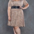 Plus Size Leopard Print / Brown and White Dress 1x