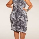 Plus Size Snake Print / Black and White Dress 1x