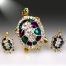 Turtle Brooch and Earring Set