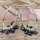 Black Beaded  Hoop Earrings
