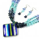 Striped Blues Square Murano Glass Necklace Set
