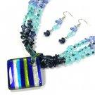 Striped Blues Square Murano Glass Necklace Set