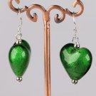 Green Glazed Heart Earrings