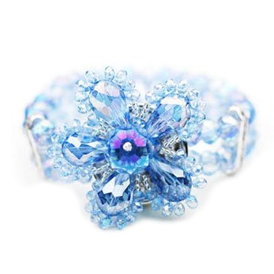 Elegant Blue Flower Stretch Bracelet