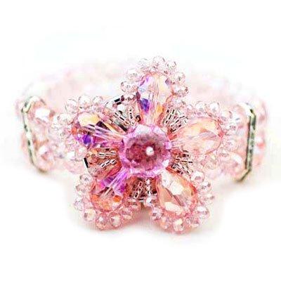 Elegant Pink Flower Stretch Bracelet