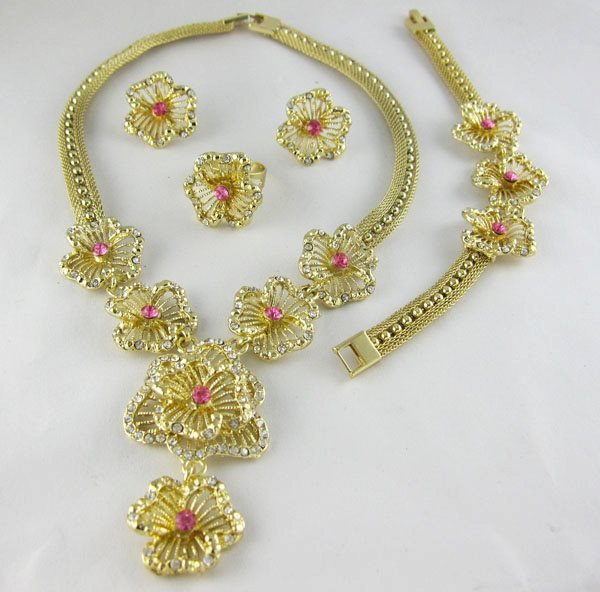 Pink Flower African Jewelry 4 Set
