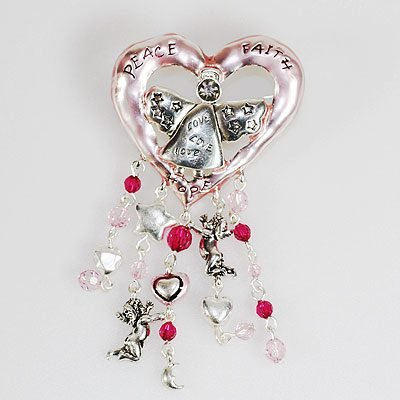 Pink Heart Charms Brooch