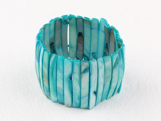 Blue Dyed Orange Shell Bracelet
