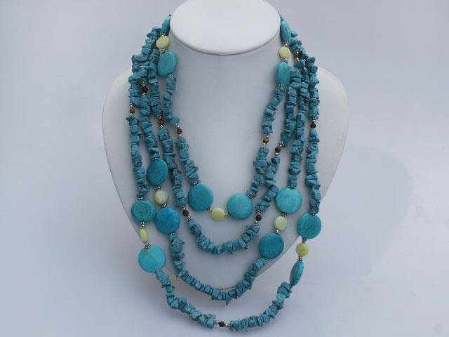 Multistrand Tiger Eye Turquoise and Lemon Jade Necklace