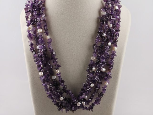 Multistrand Amethyst White Pearl Necklace
