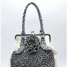 White Flower Leopard Print Handbag
