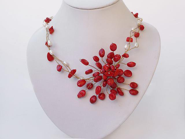 White Pearl and Red Coral Flower Necklace