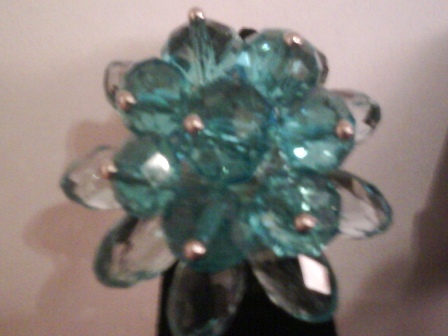 Blue Glass Flower Fashion Ring