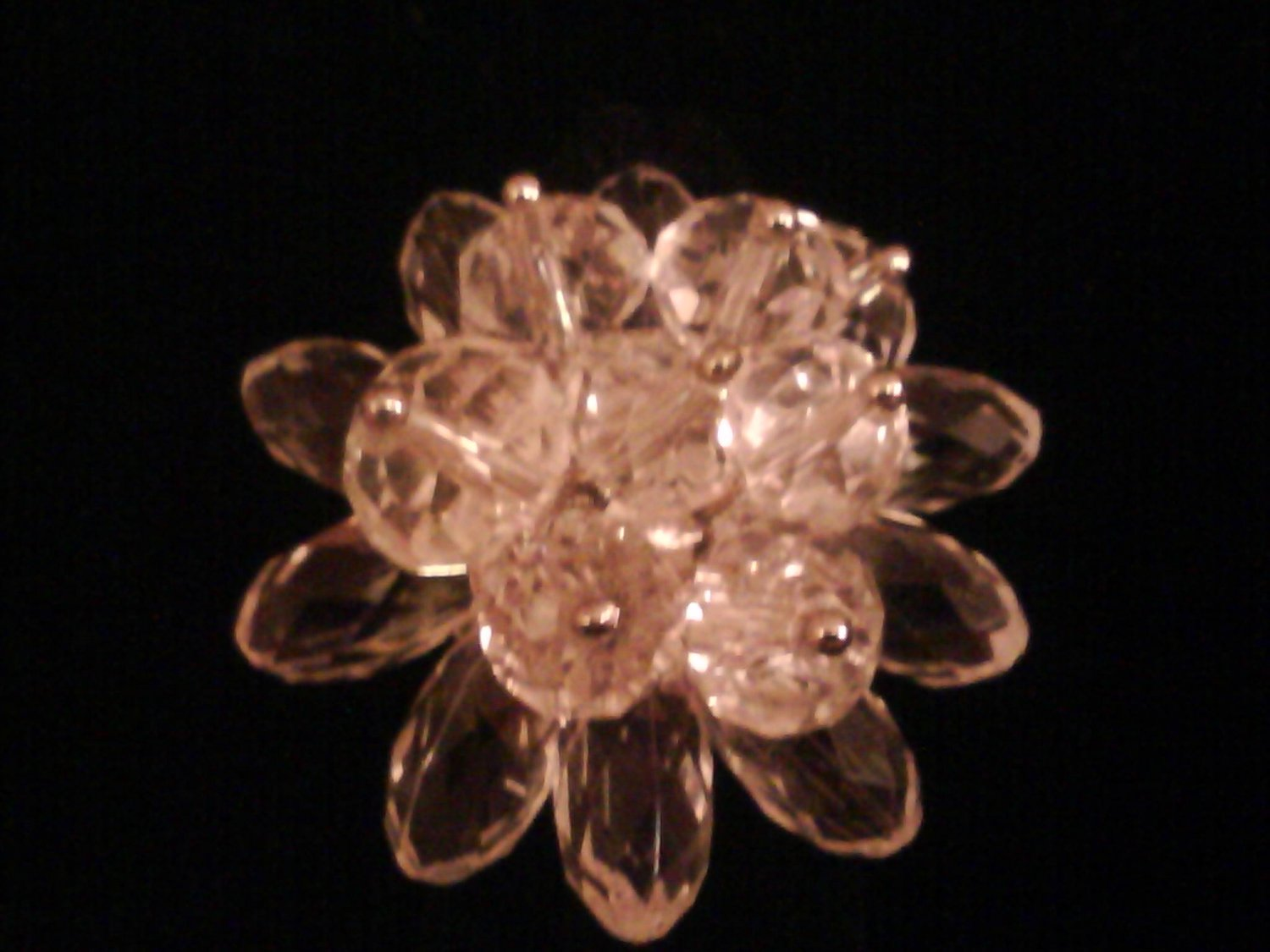 Clear Glass Flower Fashion Ring