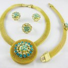 Gold/Blue African Jewelry 4 Set