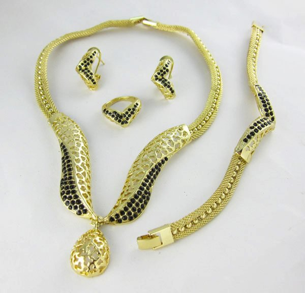 Gold/Black African Jewelry 4 Set