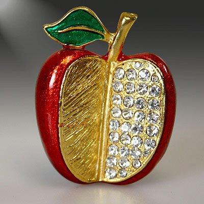 Red Bling Apple Brooch