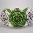 Bright Green Stretch Flower Bracelet