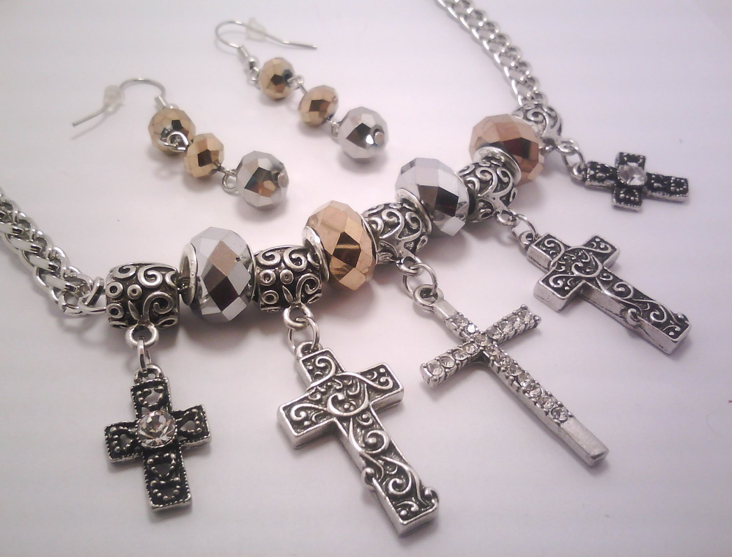 Cross Charms Necklace Set