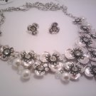 Silver Rose Necklace and Earring Set