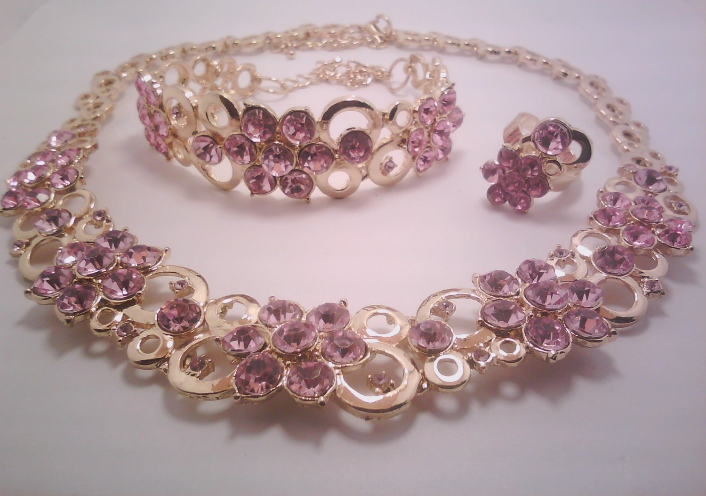 Pink Bubble Flower Jewelry 3 Set