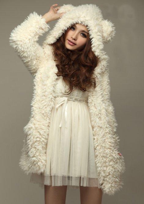 New Korea Style Bear Ears Lamb Fluffy Wool Winter Furry Winter Coats