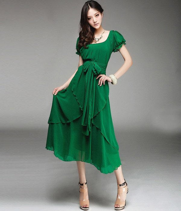 Fashion Short Ruffled Sleeves Irregular Hem U-Neck Long Chiffon Dress Solid Color Maxi Dress