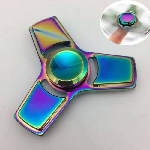 Rainbow EDC Triangle Fidget Hand Spinner Torqbar ADHD Autism Finger Focus Toy