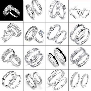 Fashion New Solid 925 Sterling Silver Crystal Girl Men Lover Couple Ring