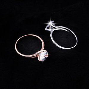 Size6-9 Stainless Steel Zircon Crystal Ring Women Silver/Gold Wedding Party Band