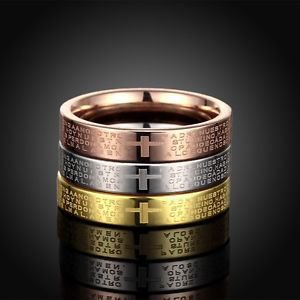 3-In-1 Women Titanium Stainless Steel Tri Color Bible Lord's Prayer Cross Ring