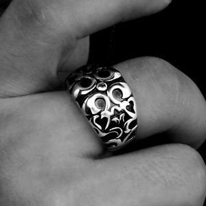 US 7 8 9 Silver Men's Dead Gothic Punk Death Stainless Steel Biker Ring Band New