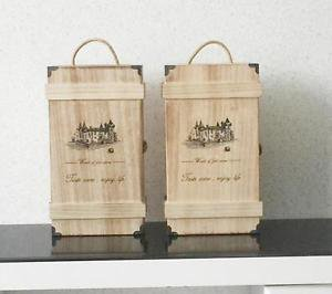 Nautral Handmade Wooden Wine Box Holder for 2 Bottles With Handle Wine Gift Box