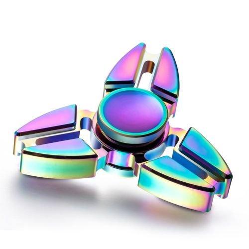 Blue LED Flash Light Alloy Tri-Spinner Hand Spinner Fidget Desk Focus EDC Toy