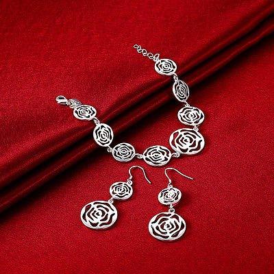 New Arrive Fashion Women Jewelry Set Floral Silver Plated Bracelet Earrings Set