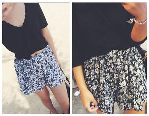 New Women Summer Short Retro Floral Print Casual Leisure Wild Casual Shorts 020