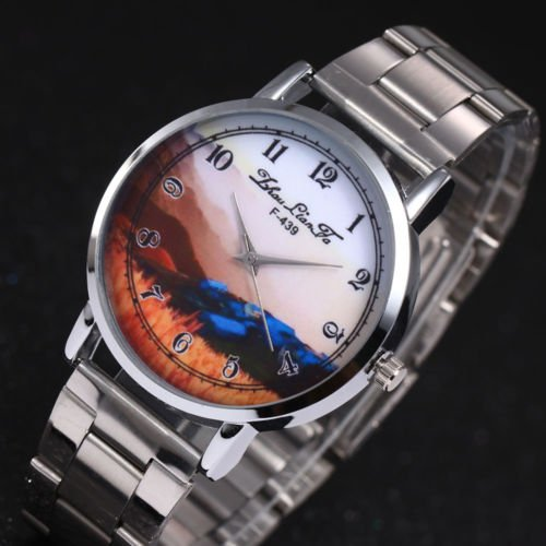 Hot Fashion Creative Digital Steel  Quartz Business Wrist Watch For Men women