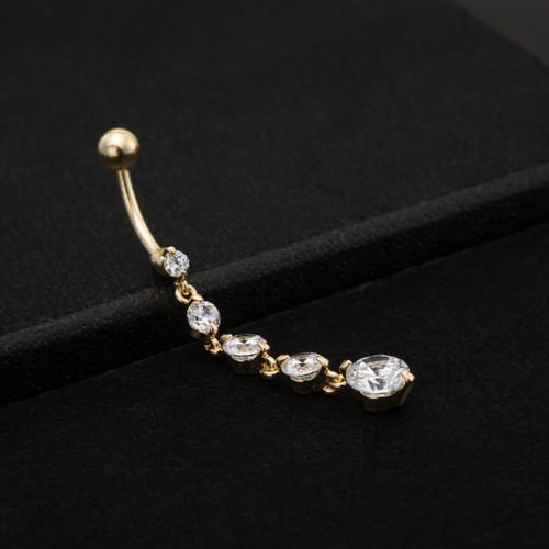 New Simple Elegant Double Petal Belly Button Ring Zircon Pendant For Women Girls